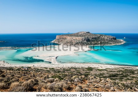 beautiful Balos Lagoon and Gramvousa Island in Hania, Crete.  - stock photo