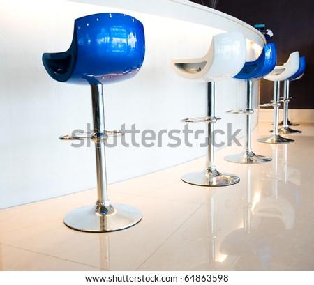 beautiful bar with bar chairs - stock photo