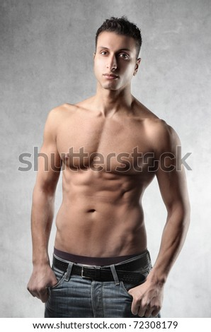 Beautiful bare-chested man - stock photo