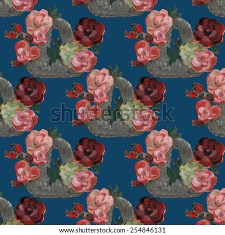 Beautiful basket seamless pattern - stock photo