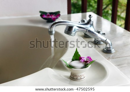 beautiful bathroom in outdoor, close-up - stock photo