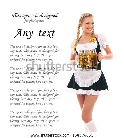 Beautiful bavarian girl isolated isolated on white (there is some blank space to put any text) - stock photo