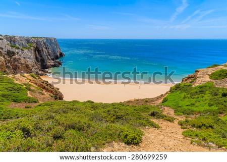 Beautiful bay and sandy beach of Praia do Beliche near Cabo Sao Vicente, Algarve region, Portugal - stock photo