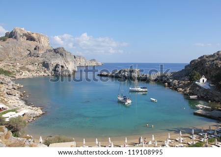 beautiful bay of Apostle Paul near Lindos on the island of Rhodes, Greece - stock photo