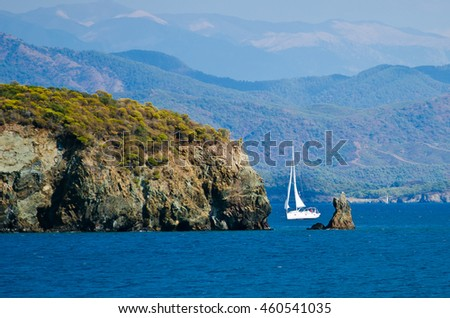 beautiful bay, picturesque seashore. sailing on the sea, blur