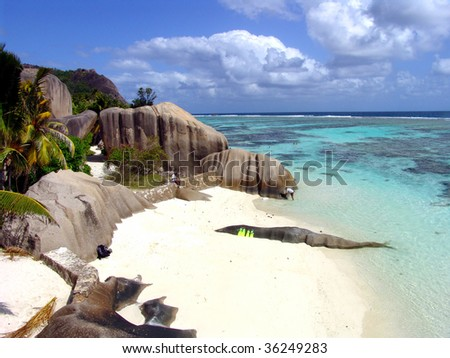 Beautiful beach and a place for diving in Seychelles - stock photo