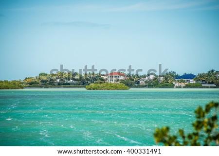 beautiful beach and ocean scenes in florida keys - stock photo