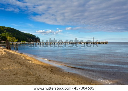 Beautiful beach and pier in Orlowo, district in Gdynia city. Poland. Baltic sea. - stock photo