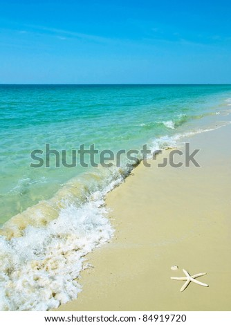 beautiful beach and sand in thailand - stock photo