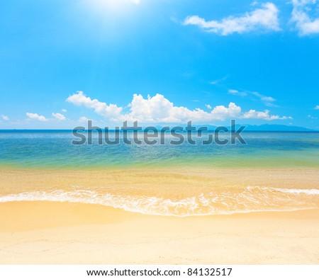 beautiful beach and sea - stock photo
