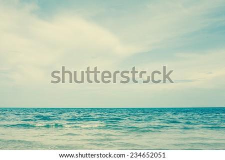 Beautiful beach and sky of Cha Am, Thailand. Retro filter. - stock photo
