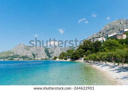 Beautiful beach and transparent  Adriatic Sea, Croatia. - stock photo