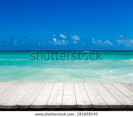 beautiful beach and tropical sea - stock photo