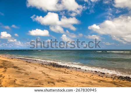 beautiful beach and tropical sea, Pacific Ocean water with waves. Sea shore with sand on Maui Hawaii. Sunshine background