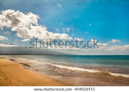 beautiful beach and tropical sea, Pacific Ocean water with waves. Sea shore with sand on Maui Hawaii. Sunshine background.