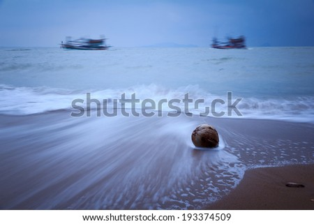 Beautiful beach and waves of Chanthaburi Sea, Thailand.  - stock photo