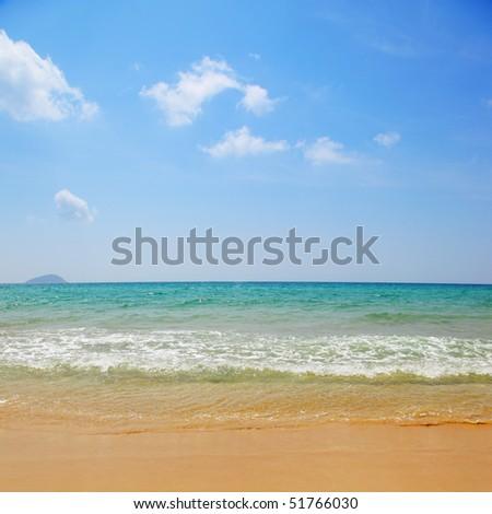 Beautiful beach and waves of sea - stock photo