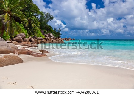 Beautiful beach Anse Georgette at Praslin island, Seychelles