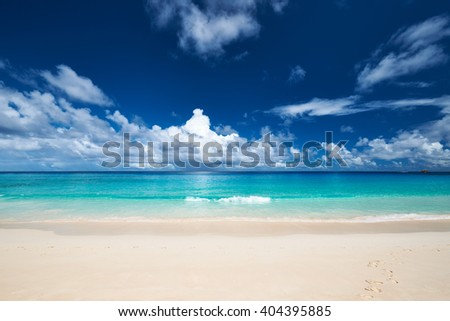 Beautiful beach Anse Intendance at Seychelles, Mahe - stock photo