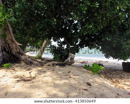 Beautiful Beach at Dusk Desaru Beach Johor Malaysia - stock photo