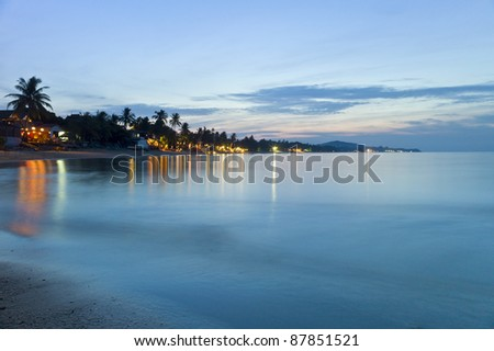Beautiful beach at night in Ko Samui, Thailand