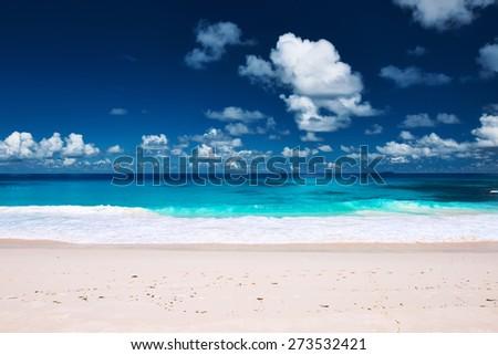 Beautiful beach at Seychelles, La Digue - stock photo