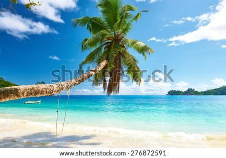 Beautiful beach at Seychelles, Mahe - stock photo