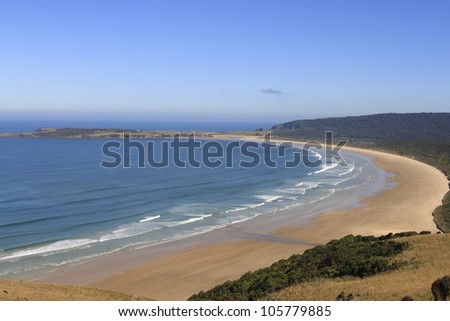 Beautiful beach at the Catlins coast on the tip of southern island New Zealand - stock photo