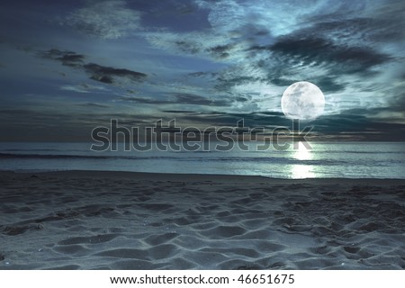 Beautiful beach at twilight time with moon in the sky - stock photo