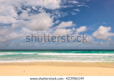 Beautiful beach. Fashion travel and tropical beach concept. - stock photo