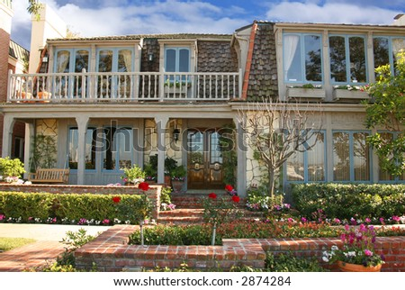 Beautiful Beach Front Home in California - stock photo