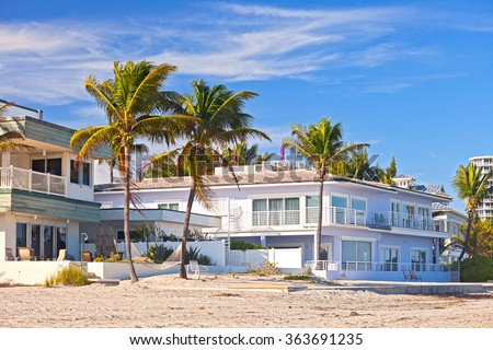 Beautiful beach houses and hotels on a sunny day in Hollywood Florida - stock photo
