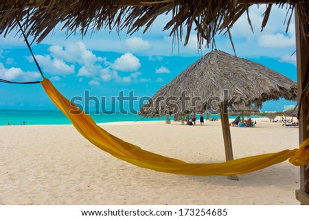Beautiful beach in Aruba, Caribbean Islands, Lesser Antilles - stock photo