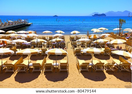 Beautiful beach in Cannes, France