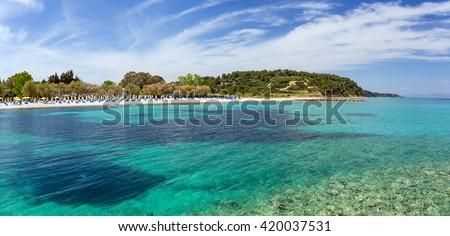Beautiful beach in Kallithea, Halkidiki, Greece - stock photo