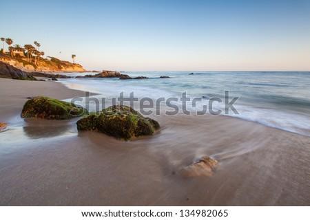 beautiful beach in Laguna Beach, California - stock photo