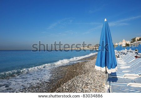 beautiful beach in Nice, France - stock photo