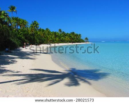 Beautiful beach in One Foot Island, Aitutaki, Cook Islands - stock photo