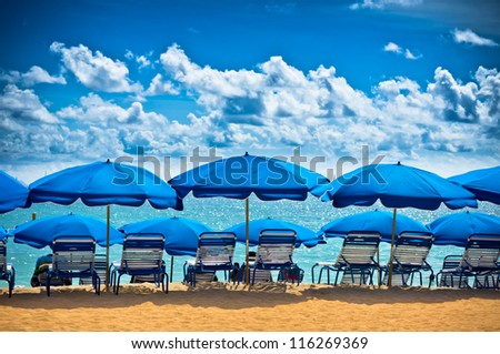 Beautiful beach in Philipsburg, Saint Martin, Carribean Islands - stock photo