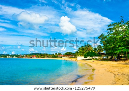 Beautiful beach in Saint Lucia, Caribbean Islands - stock photo