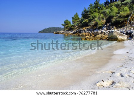 Beautiful beach in Skopelos island, Greece - stock photo