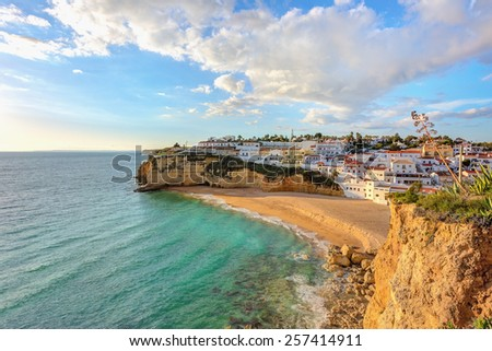 Beautiful beach in the town of Carvoeiro. Portugal, Algarve.