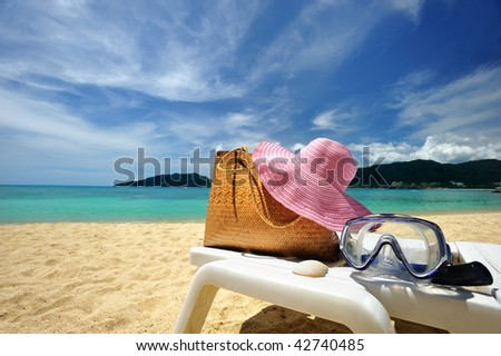 Beautiful beach landscape with bag in Thailand