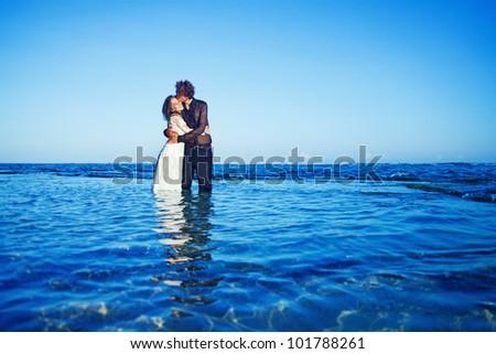 Beautiful beach marriage - stock photo