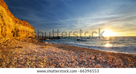 Beautiful beach. Natural panorama composition. - stock photo
