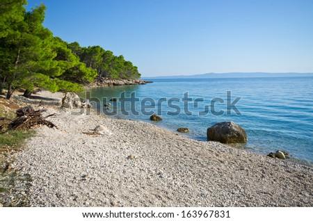Beautiful beach near Makarska on Croatian seashore - stock photo