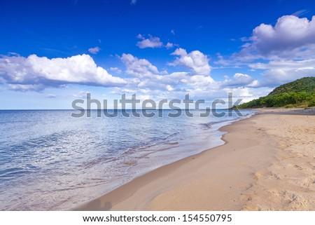 Beautiful beach of Baltic Sea in Sweden - stock photo