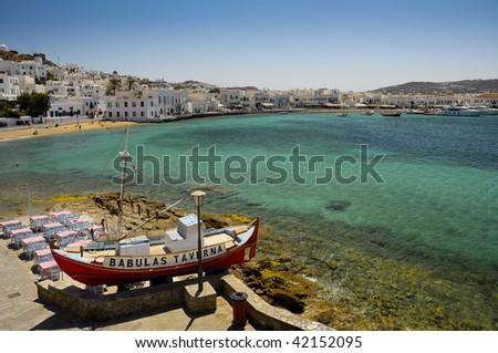 Beautiful beach of Mykonos town in Greece - stock photo