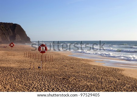 beautiful beach of Praia Grande in the south of portugal - stock photo