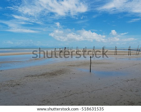 Beautiful beach of Trat, Thailand, when low tide